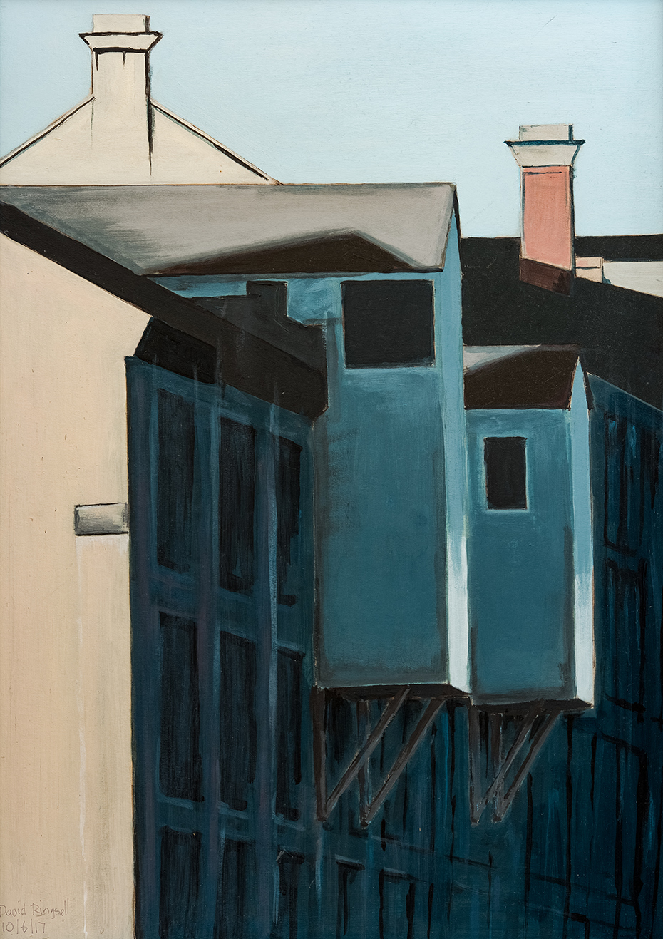warehouses scene painted by bath-based contemporary artist david ringsell